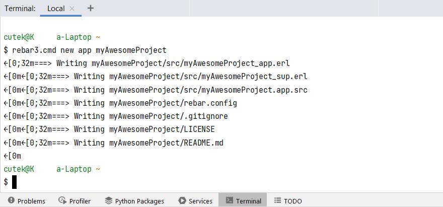 Running rebar3 from IDE terminal