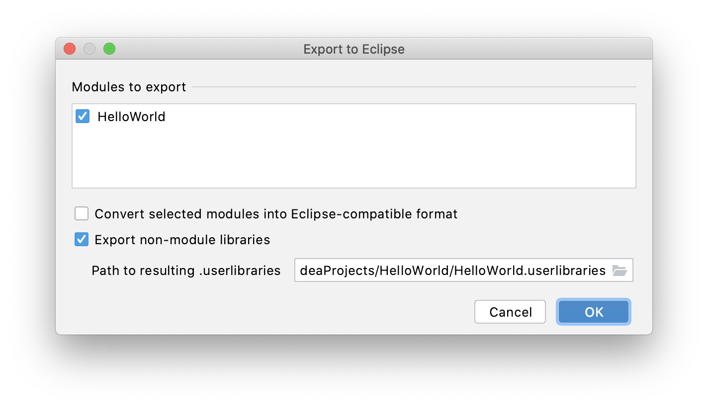 Exporting a project to Eclipse