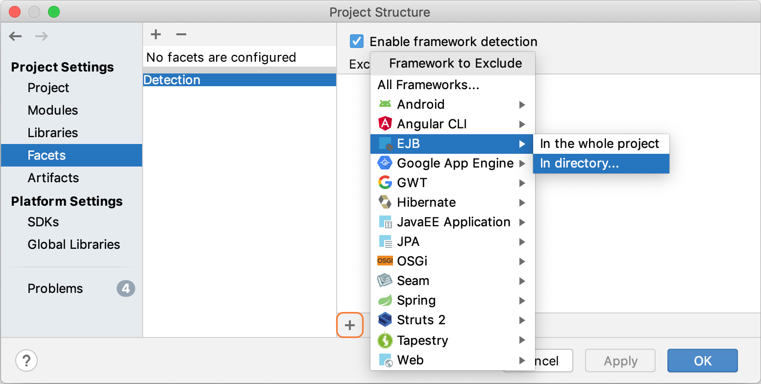 Excluding a framework from auto-detection