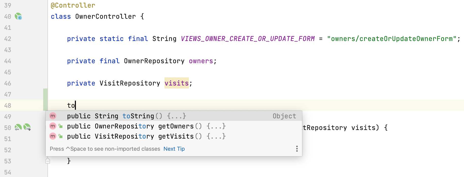 Generate getters and toString() in the completion popup