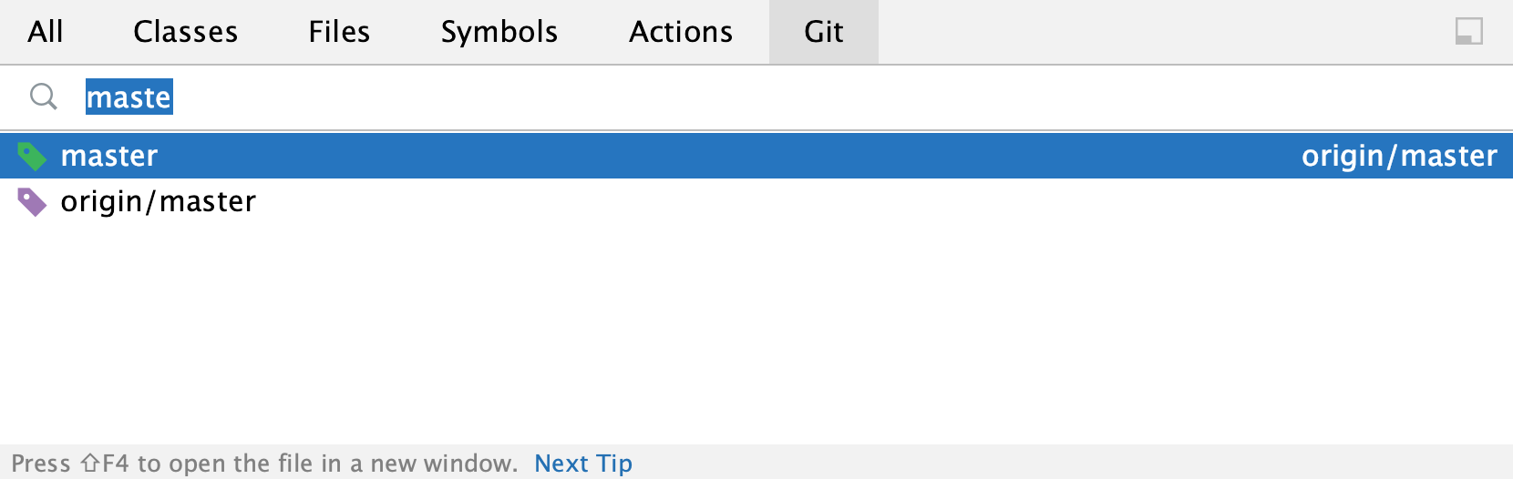 the Git search results
