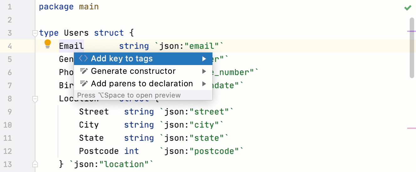 Add new tags to a struct field