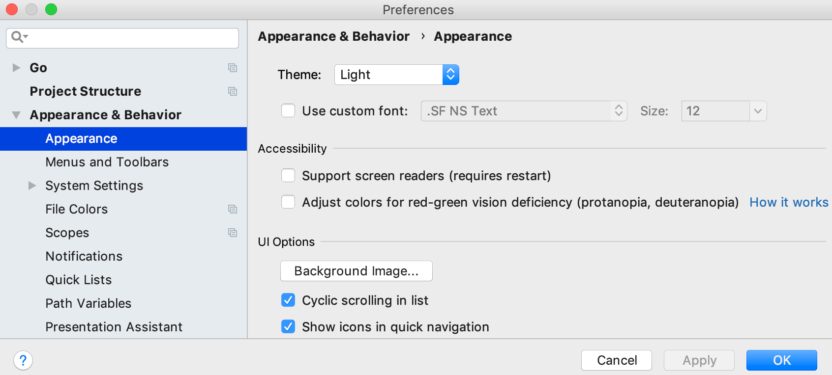 The Background Image button in Appearance preferences