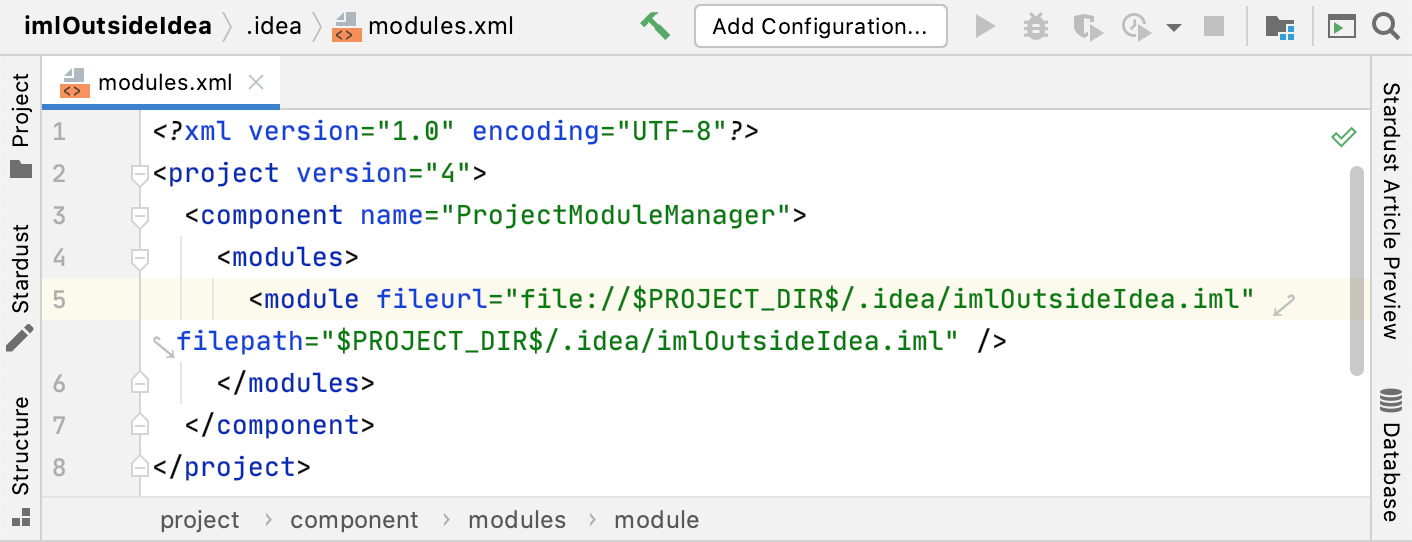 Change the IML file location for existing Go projects