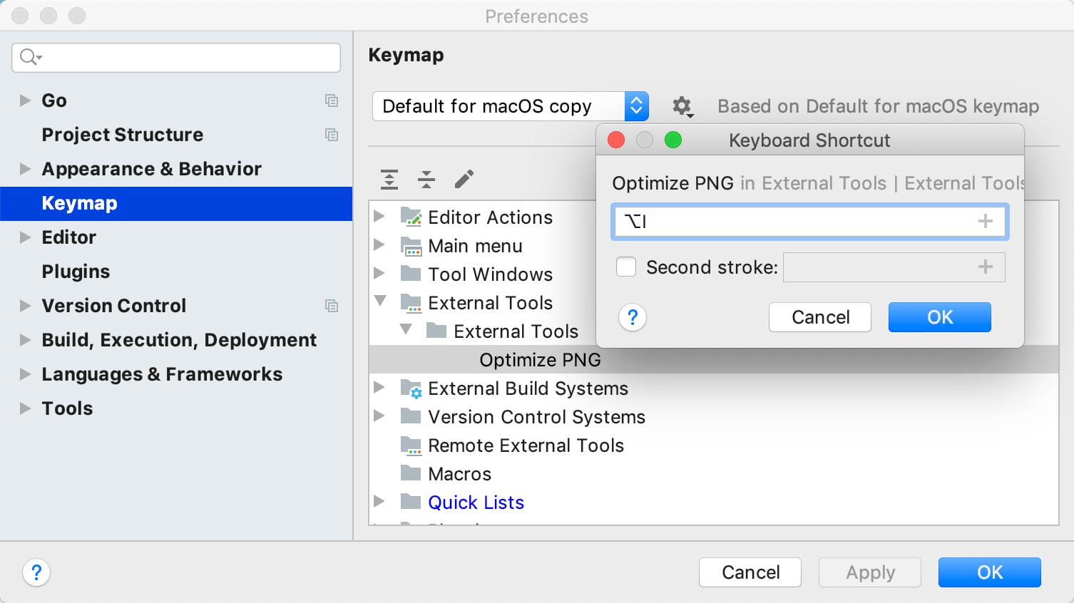 Create a shortcut for an external tool