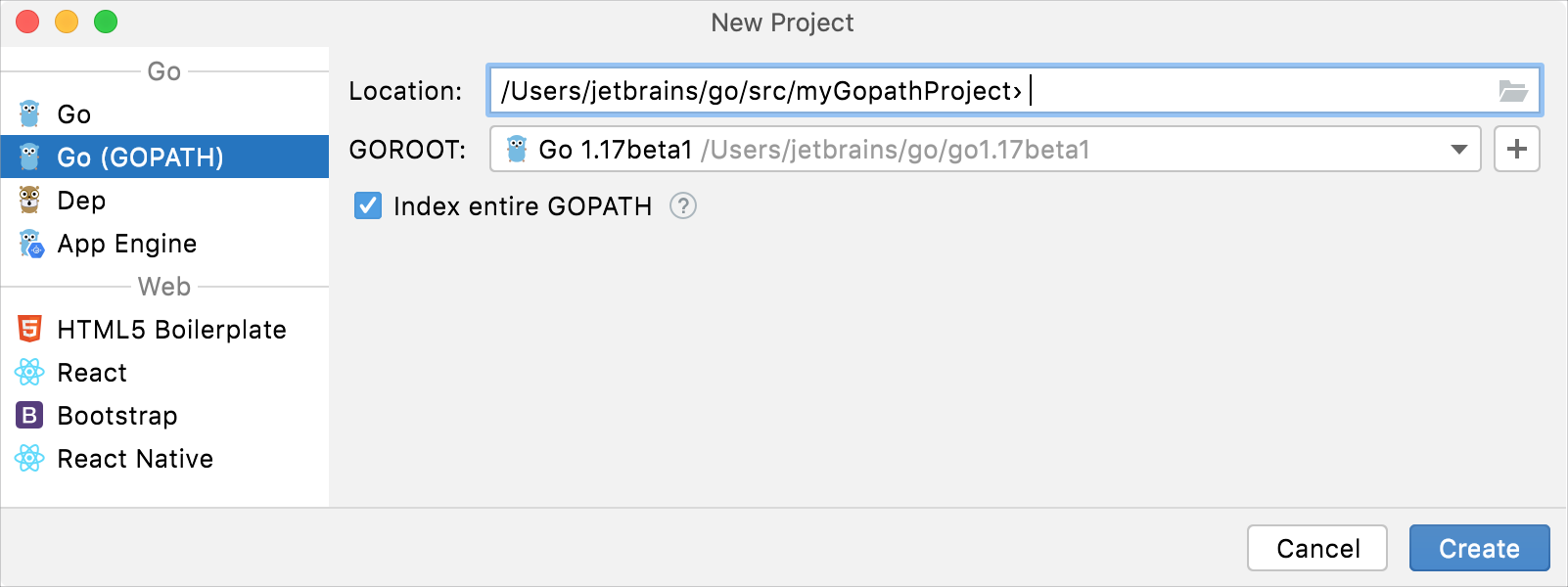 Create a project with Go (GOPATH) integration