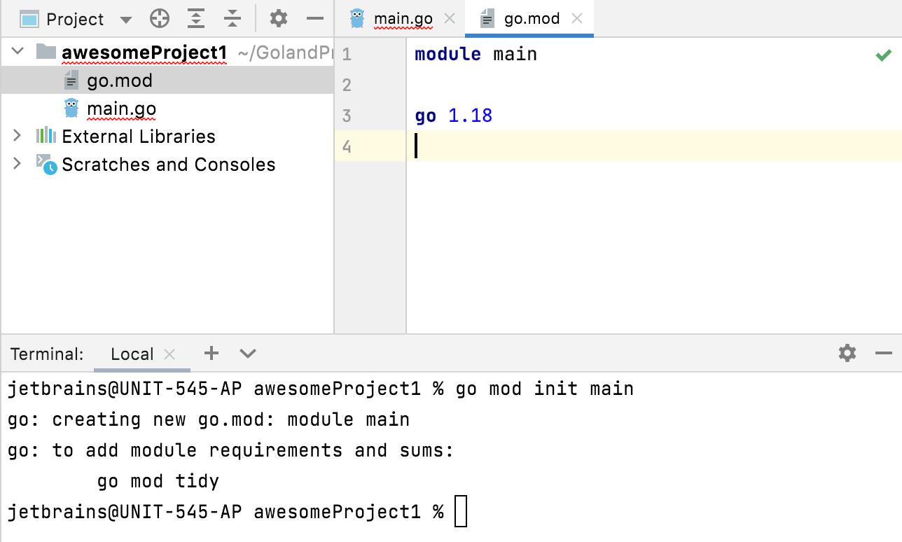Create the go.mod file
