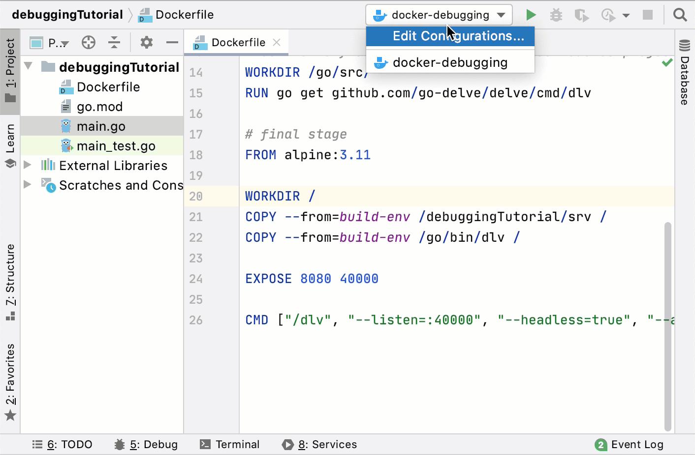 Create the Go Remote run/debug configuration for the Docker debugging