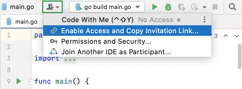 Enable Code With Me Access