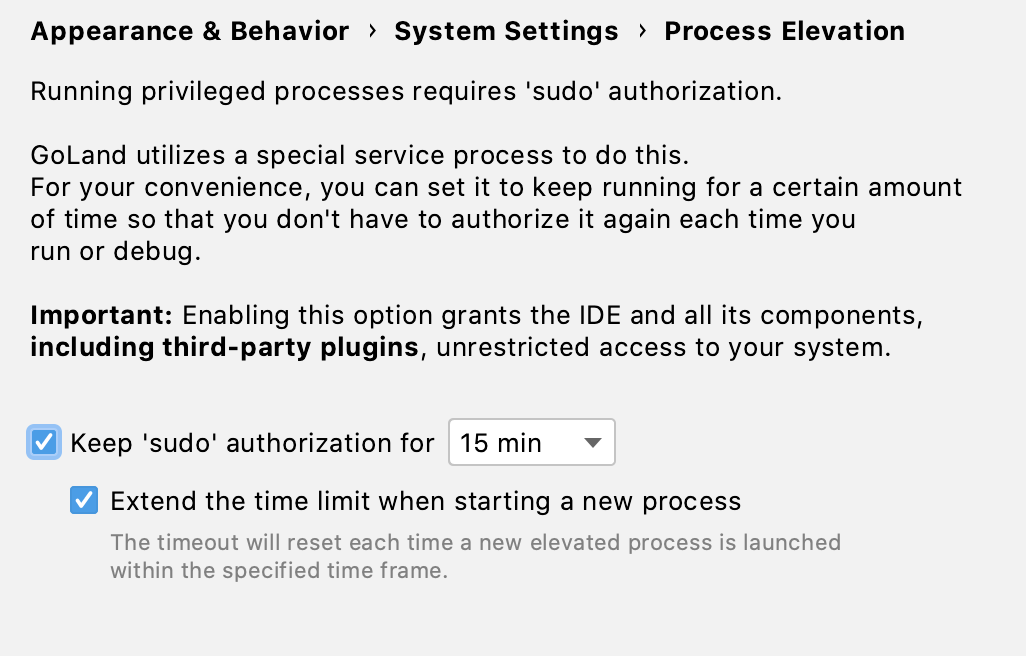 Authorization time settings