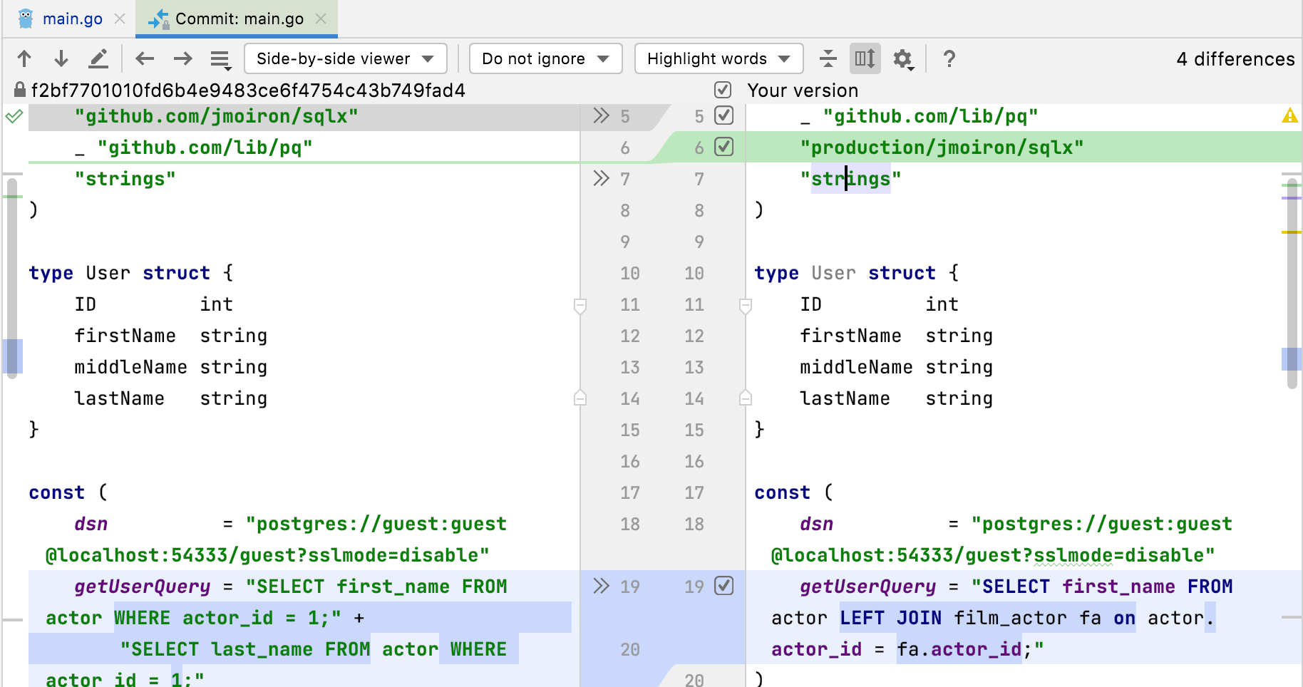 Diff preview in the editor