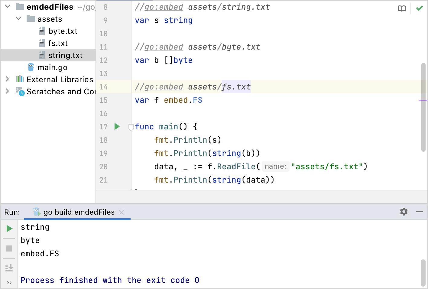 Embedding files in Go