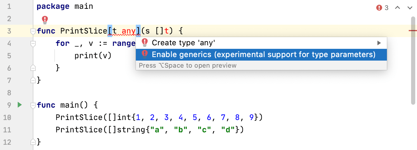 Enable the experimental support of type parameters