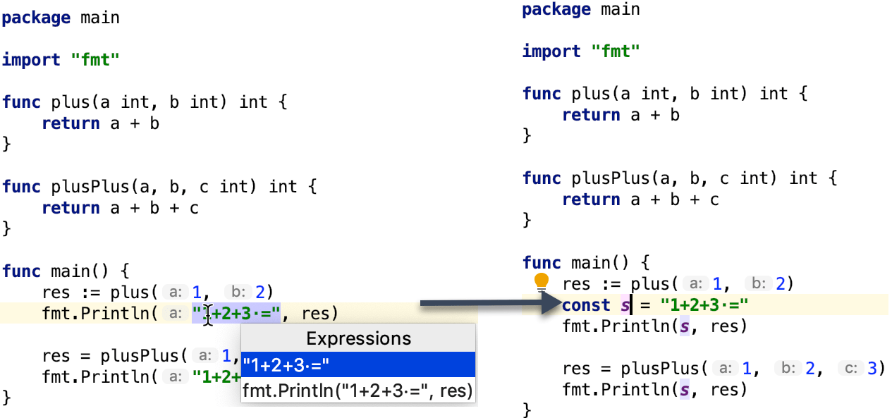 Example of the extract a constant refactoring