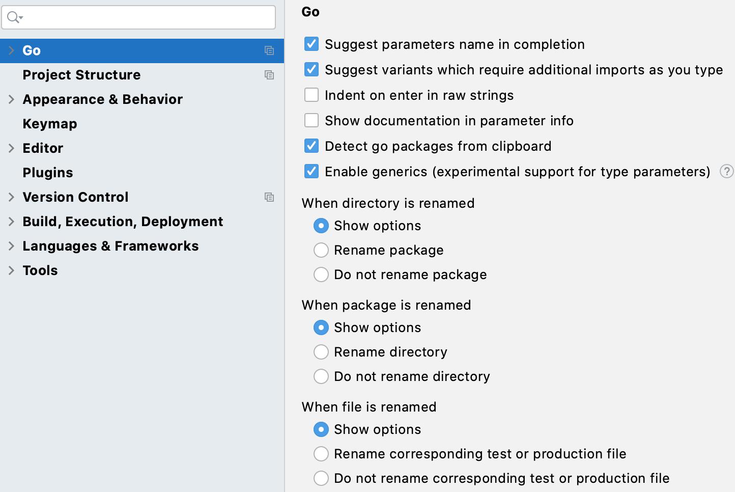 General settings for go