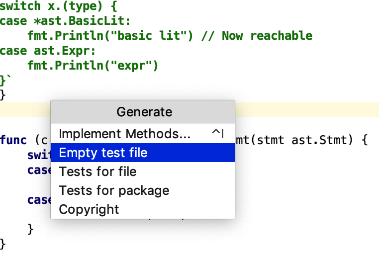 Generate an empty test file