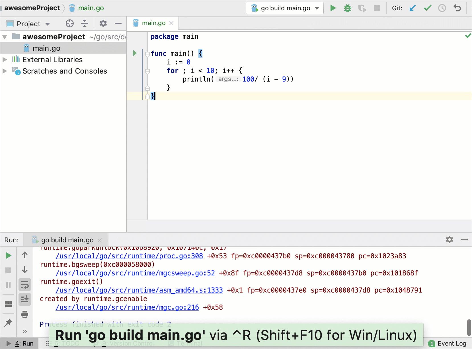 View Go core dumps in IntelliJIDEA