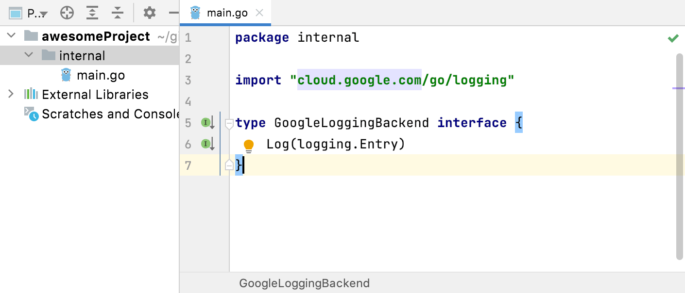 implementations of interfaces in the internal directory