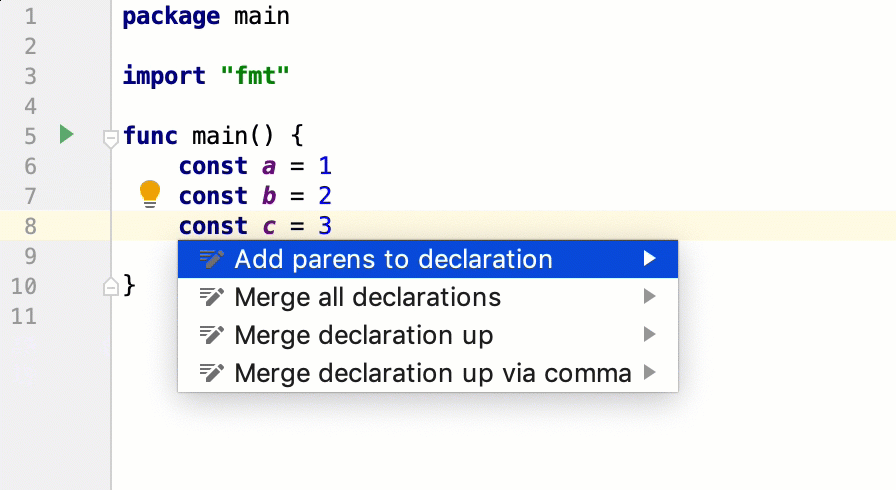 Intention actions for declarations