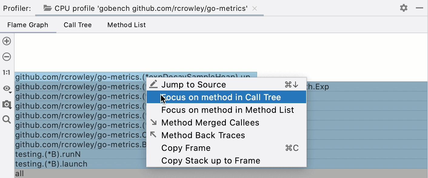 Jumping between tabs in the Profiler tool window