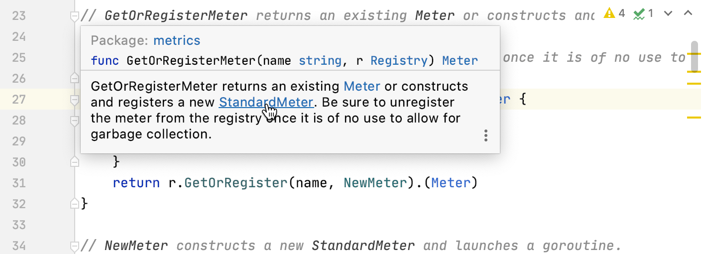 Navigation: highlight references from comments to related package-level declarations