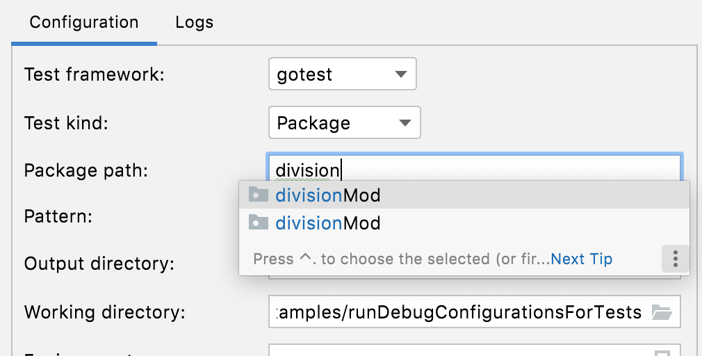 Autocompletion for the Package path field in tests