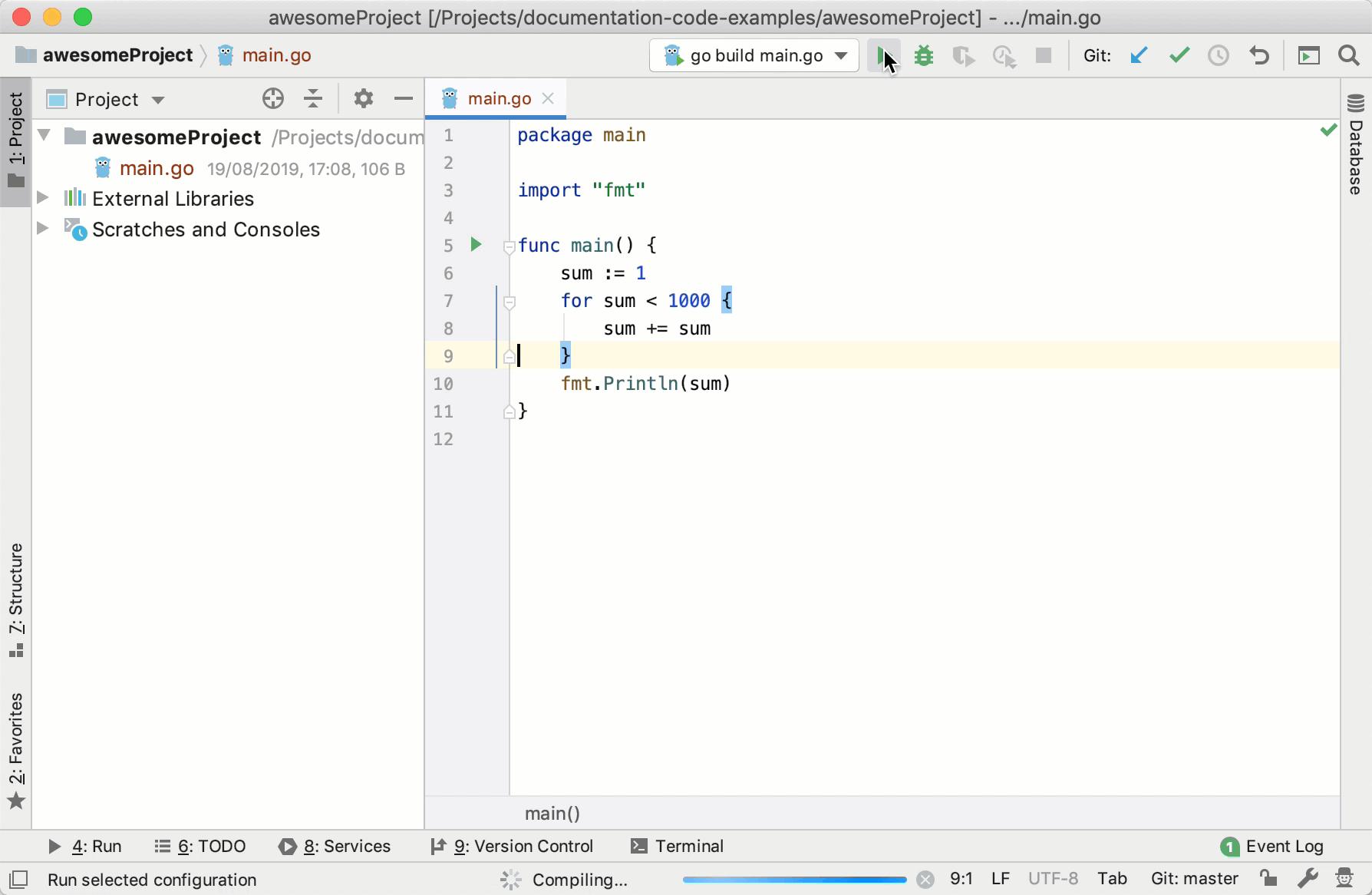 Create a run/debug configuration