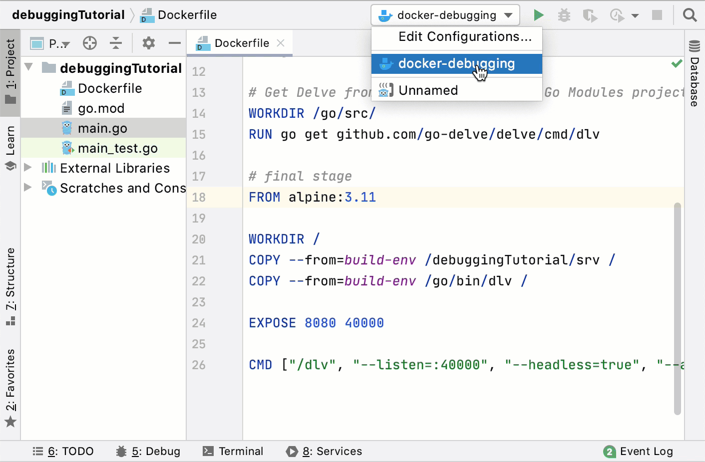 Run the Dockerfile configuration