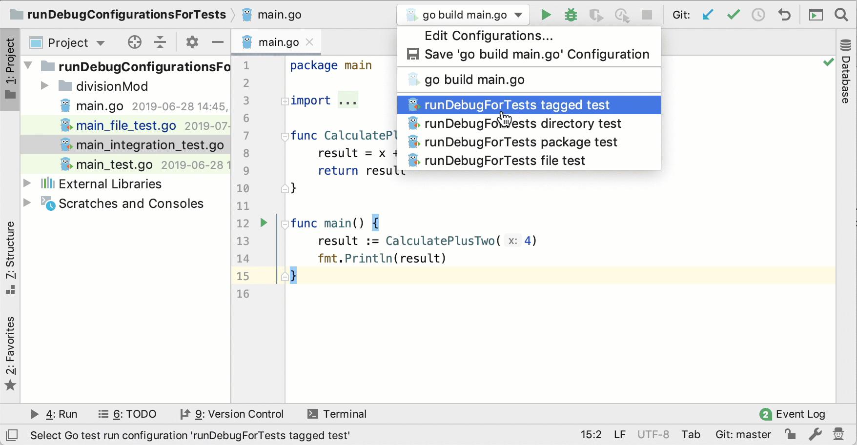 Run a run/debug configuration for tests