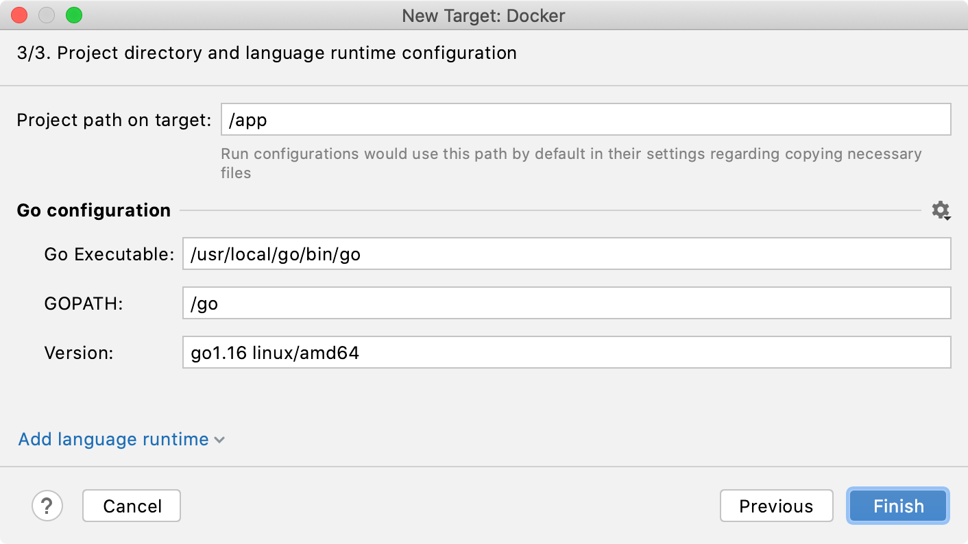 The final step of the Docker target