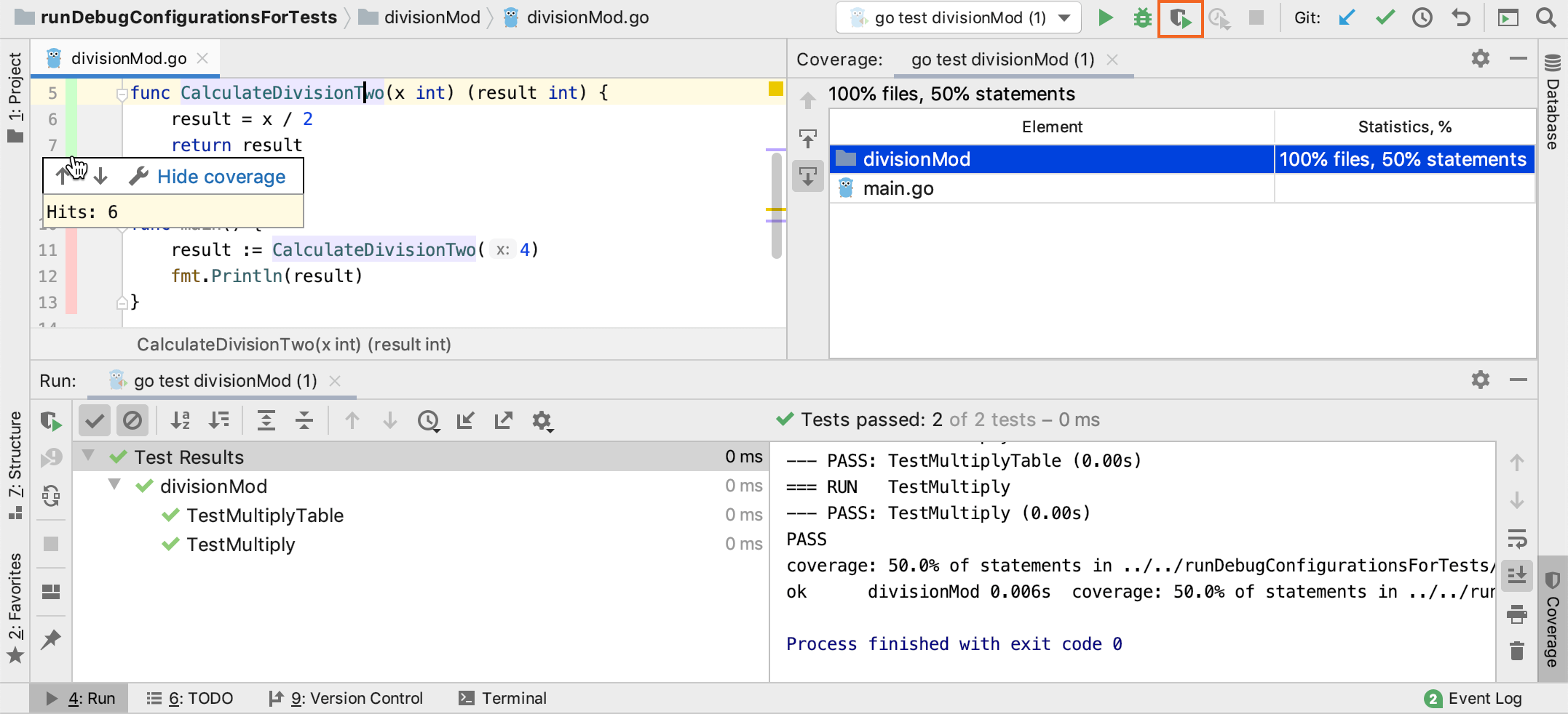 Run a test with code coverage