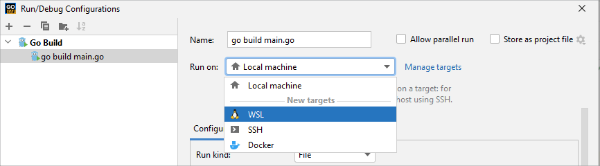 select wsl from run on list