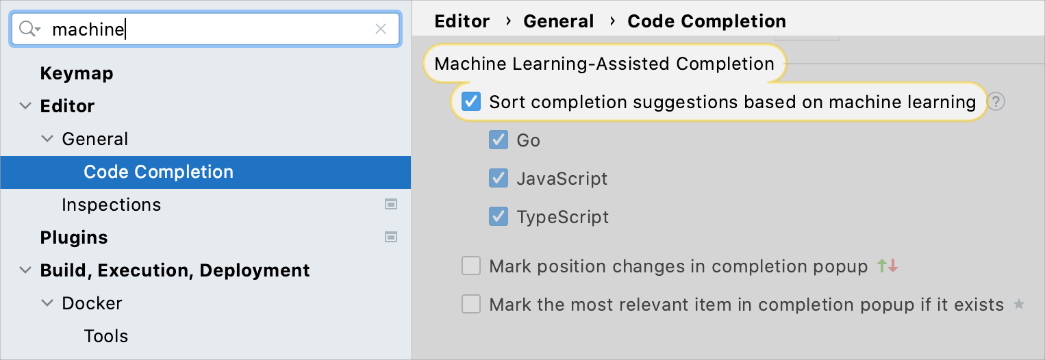 Use machine-learning-assisted code completion