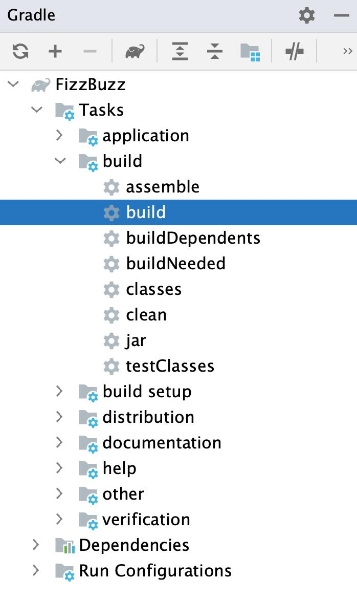 Gradle tool window: build task