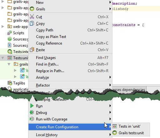 Grails create test run config