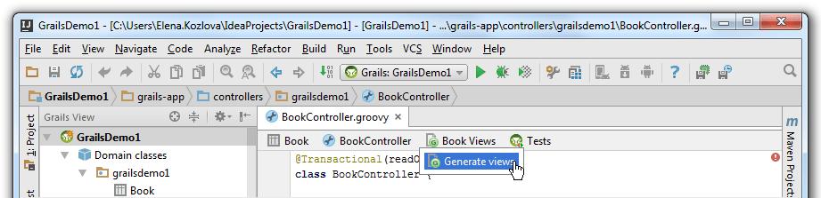 Grails generate views