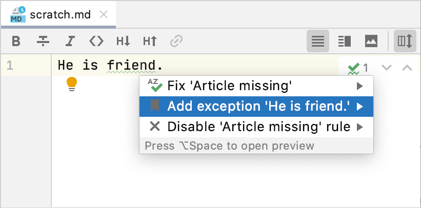 Intention action to add an exception