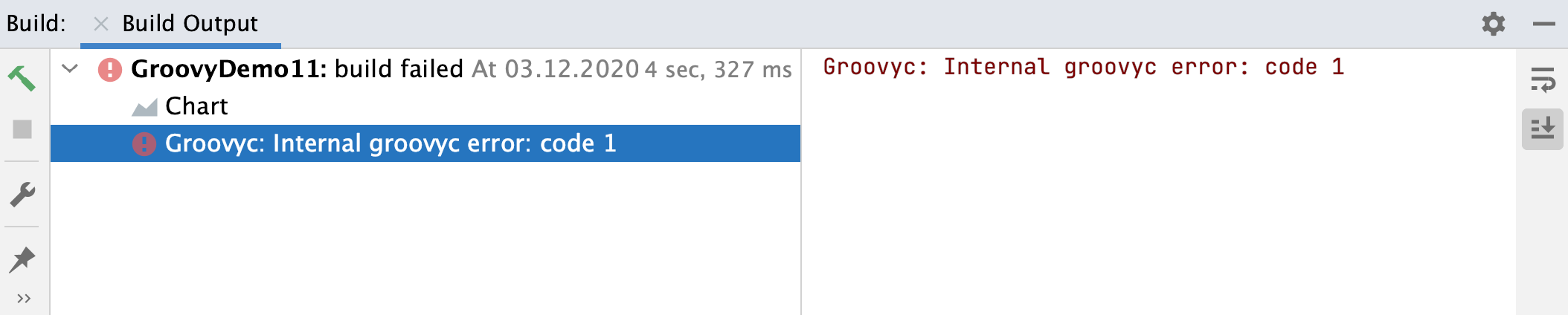 Run tool window: Groovy internal error