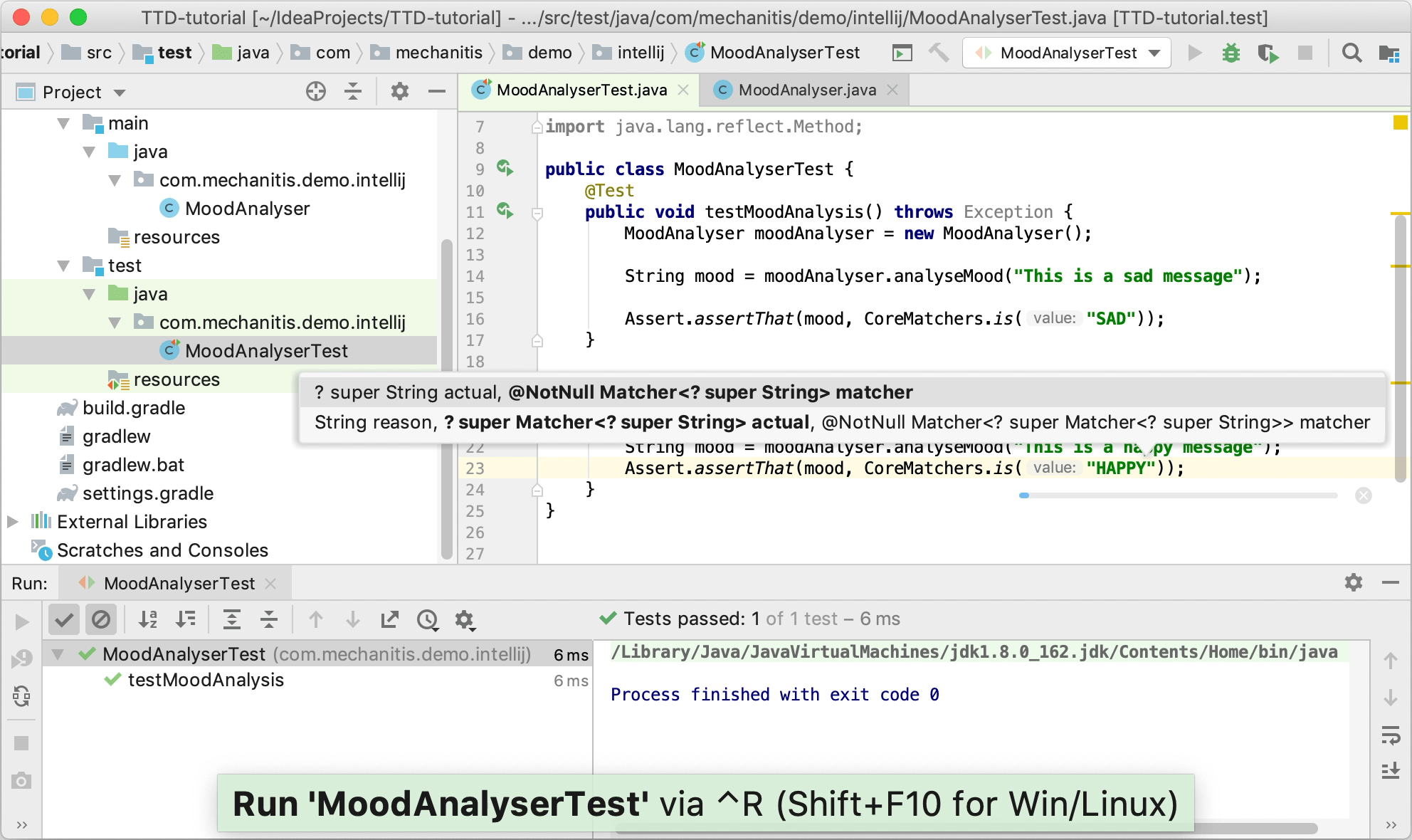 Running the second test case, showing that it fails                 for the correct reason