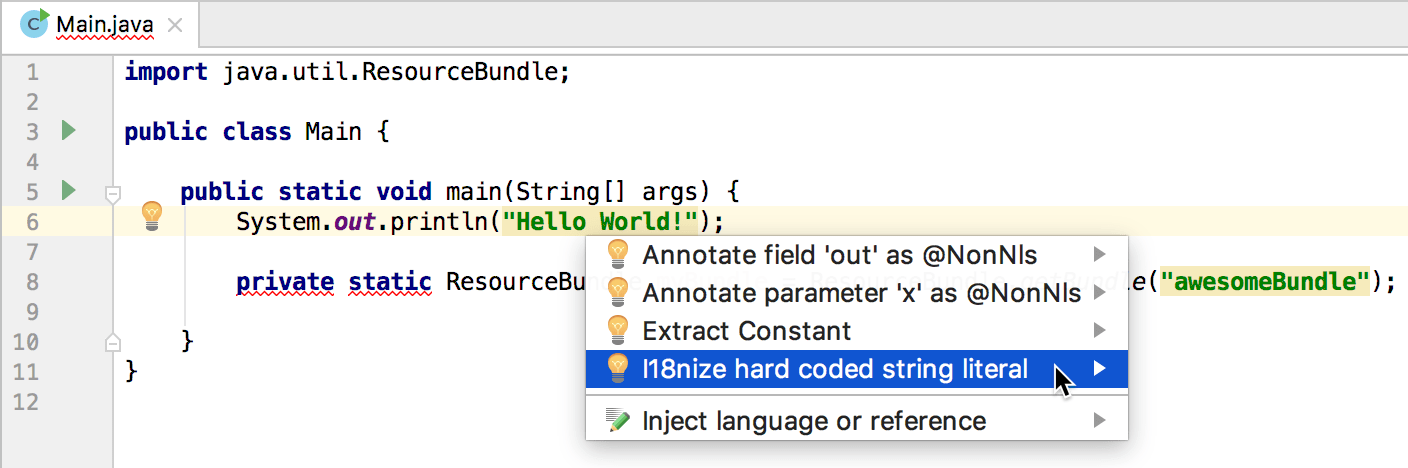Intention action for hard-coded string literals