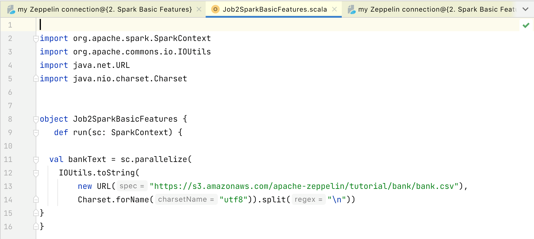 Extracted job is opened in a Scala file