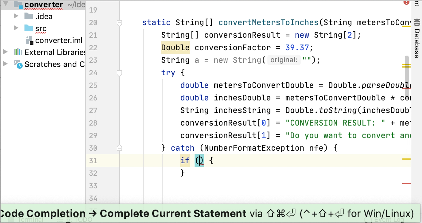 Complete a code construct