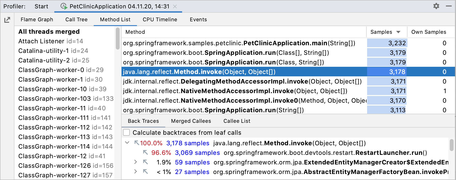 method list tab in the profiler results