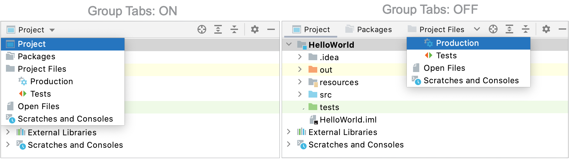 IntelliJIDEA: choosing a view in the Project tool window