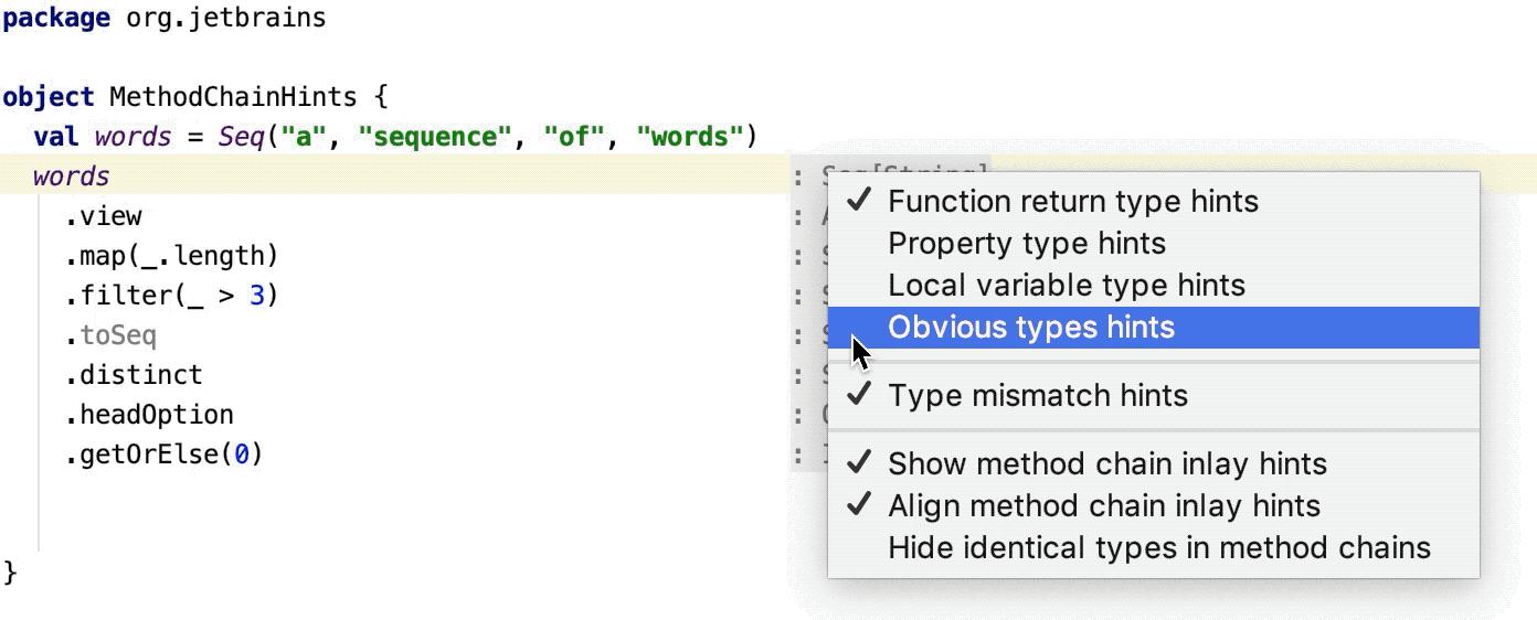 Hints context menu