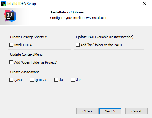 The Installation Options step of the installation wizard