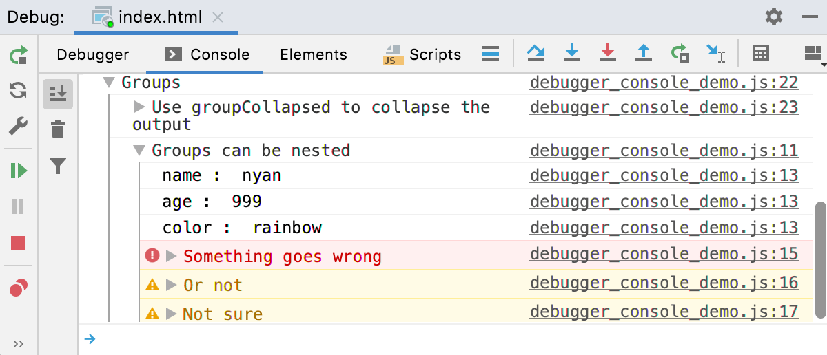 Node.js interactive debugger console: log messages grouped