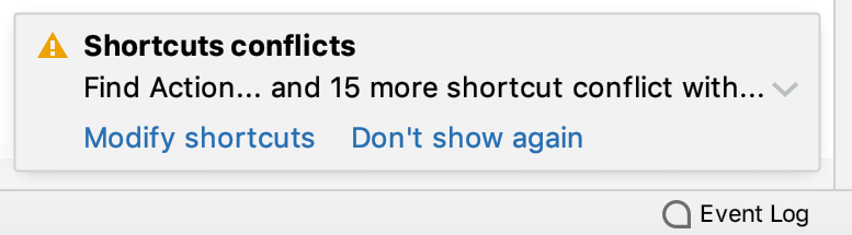 Notification on conflicting shortcuts