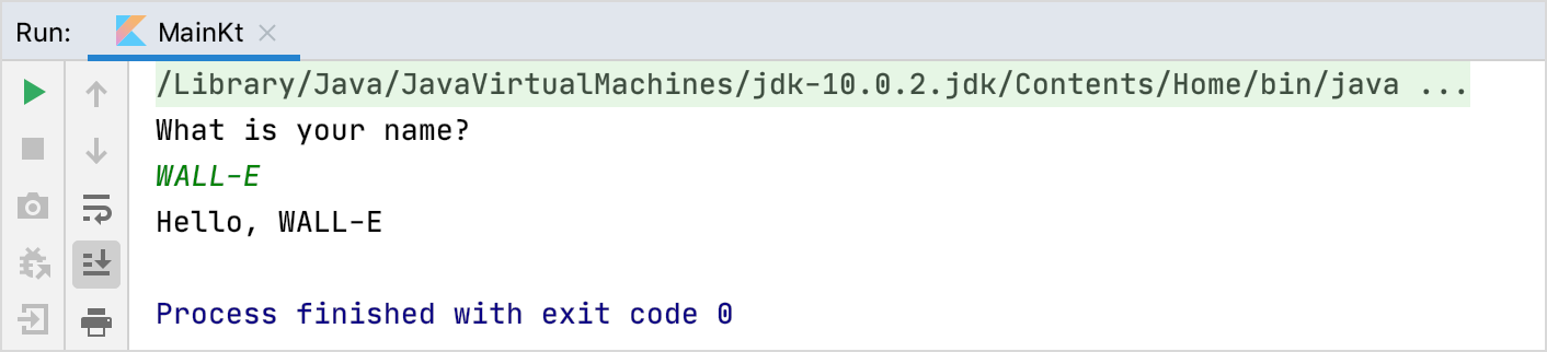 The output of the program in the Console tab