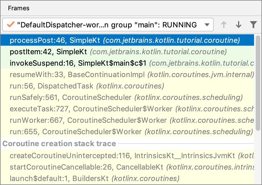 Kotlin debug coroutines frames